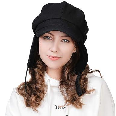e278518fc4ec2 Wool Newsboy Cabbie Casual Hat with Ear Flaps Winter Hats for Women Black  Visor Beret Bakerboy