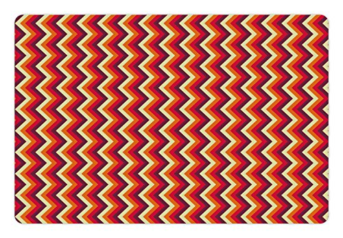 Ambesonne Retro Pet Mat for Food and Water, Vintage Zig Zag Chevron Motif in Funky Parallel Stripe Graphic, Rectangle Non-Slip Rubber Mat for Dogs and Cats, Yellow Orange Red Maroon