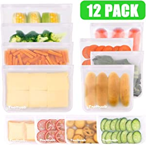 Reusable Storage Food Bags, 12 Pack Leakproof Freezer Bags(4 Large Size Bags & 4 Reusable Sandwich Bags & 4 Reusable Snack Bag), Ziplock Lunch Bag for Snacks, Fruits, Sandwiches