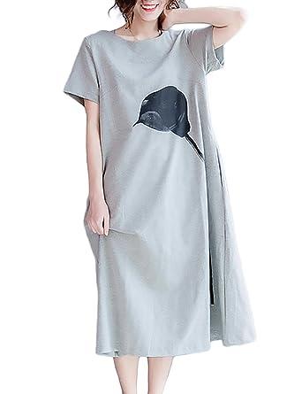 Damen T Shirt Kleid Für Mollige Mode Casual mit Cute Chic Aufdruck Lange  Kleider Kurzarm Rundhals Loose Elegant A-Linie Sommerkleider Shirtkleider  Große ... f70668300f