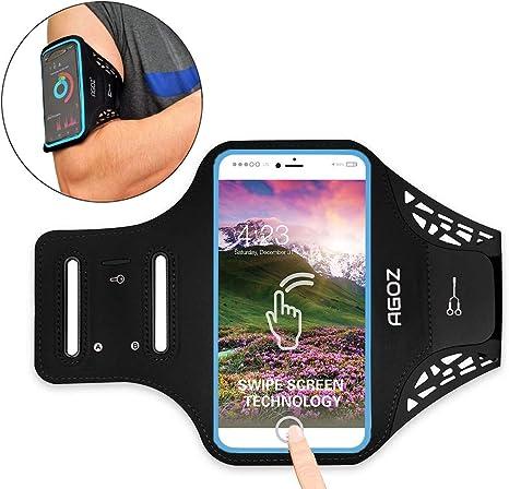 AGOZ Brazalete Soporte para teléfono Celular Estuche Deportivo Gimnasio Correr Jogging Ciclismo Ejercicio Clave Tarjeta de crédito Bolsa Compatible con Samsung Galaxy Note 9, 8, S8 Plus (Negro): Amazon.es: Electrónica