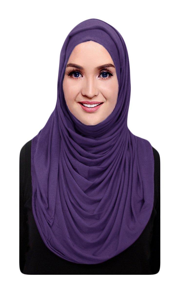 Hana's Womens Cotton Jersey Hijab Scarf One Size Purple