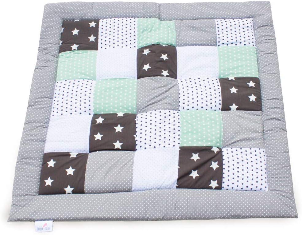 Esterilla de juego para bebés Emma & Noah, parches cálidos y suaves, Menta, 200x200 cm, ideal como manta para bebés, edredón para bebés, esterilla de juegos, acolchado para la cuna