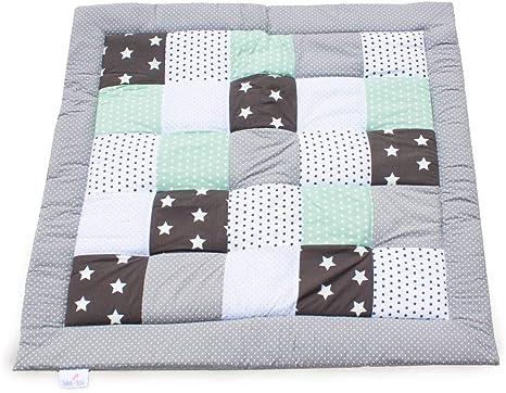 200x200 cm acolchado para la cuna parches c/álidos y suaves Menta Esterilla de juego para beb/és Emma /& Noah ideal como manta para beb/és esterilla de juegos edred/ón para beb/és