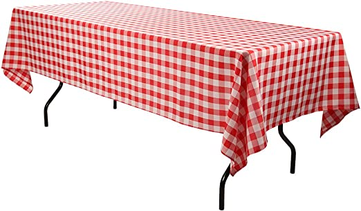 10 packs Gingham Checkered Tablecloths 60 x 126 inch Buffalo Polyester Seamless