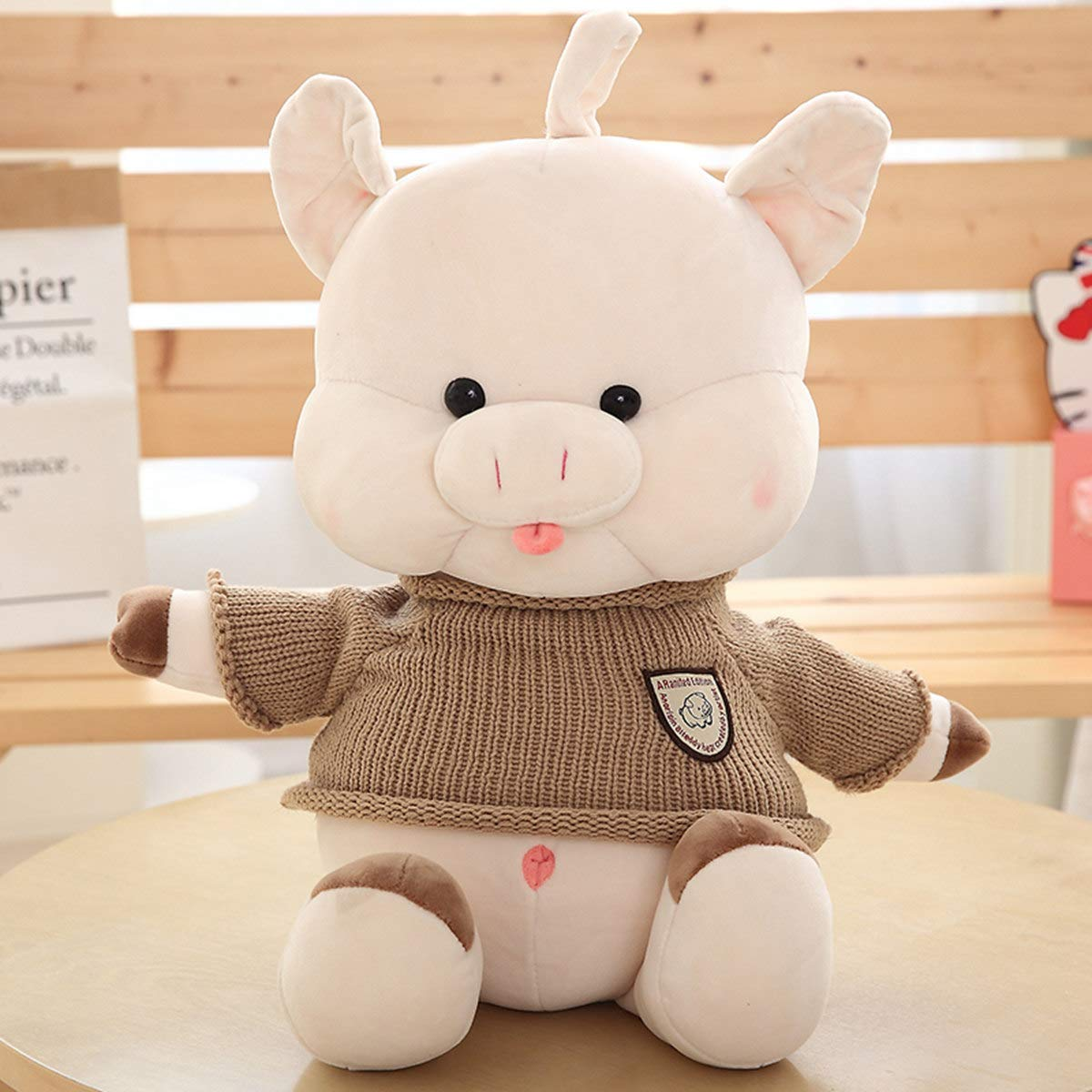 Mjia Pillow Gefüllte Plüschkissen Schlafkissenkissen Kids Comfort Toy,Daunenschwein Plüschtier,Kindertagesgeschenk,grau,45CM