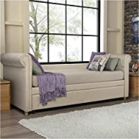 Pemberly Row Upholstered Twin Daybed with Trundle in Tan