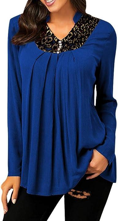 Encaje Camisetas Mujer Ropa Botón teñido Blusa 2019 Color Puro Gradient Otoño e Invierno Manga Larga Cuello Redondo Plisado Camisa de Moda Luckycat: Amazon.es: Ropa y accesorios