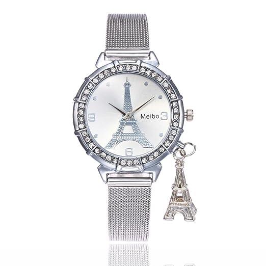 Goodsatar Moda Mujer Torre Eiffel Acero inoxidable Reloj de pulsera de cuarzo (Astilla)