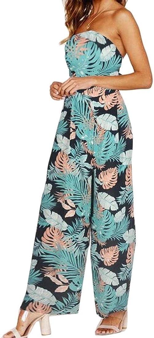 YIhujiuben Womens Wide Leg Palazzo Pants Tie Printed Open Back Jumpsuits Rompers