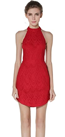 Women Sexy Slim Halter Floral Lace Backless Bodycon Cocktail Evening Party Dress