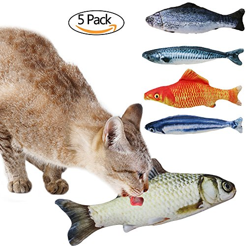 B Bascolor Cat Toys Interactive Catnip Emulational Fish Toy 5 Pack Chew Pillow for Cats Kitten