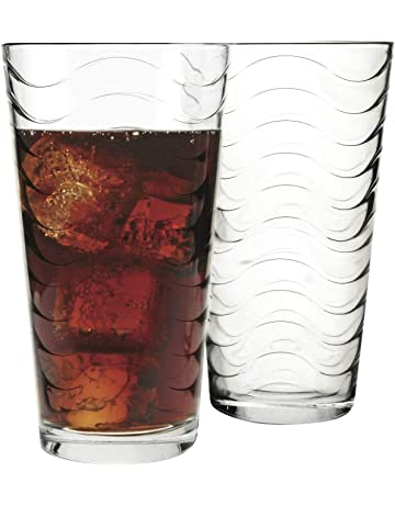 ea5b5d3a3ab Circleware 40135 Pulse Set of 8-15.7 oz Heavy Base Highball Drinking Glasses  Tumblers Ice