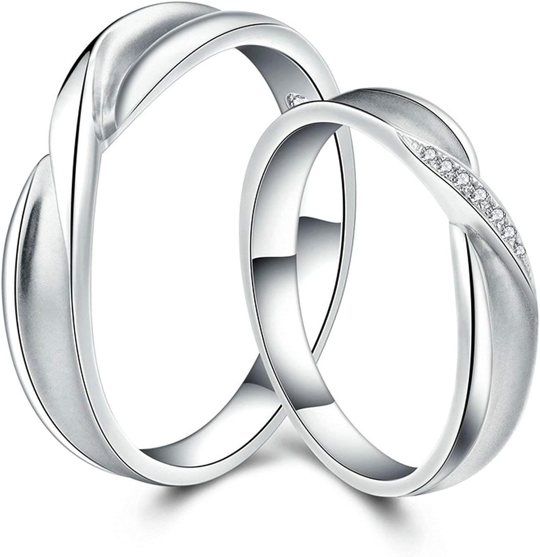 KnSam Anillo Oro Blanco de 18K, Knot Forma Anillo de Bodas con Diamante Blanco 0.03ct, Anillo de Hombre Anillo de Mujer (Precio por 2 Anillos)