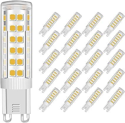 Bagliore Romantico Temperatura 450Lm 3000K AC 220-240V Angolo del facio luminoso di 360 gradi CRI80 Equivalente a 60W Luce Bianco Caldo, Lampadine Set da 5 MENTA G9 Lampadina LED 7W