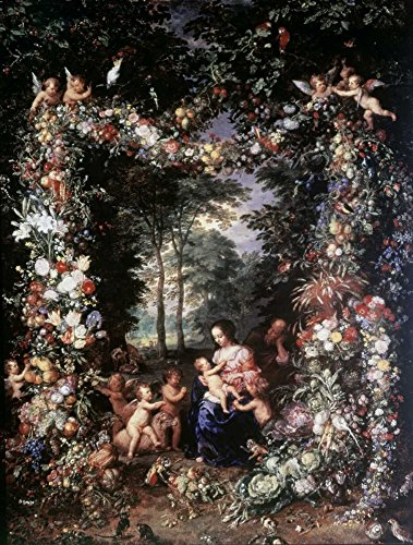 Holy Family W/Wreath of Fruit and Flowers by Jan Brueghel The Elder 8