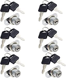 """COMOK 6Pcs Stainless Steel Cylinder Cam Drawer and Cabinet Lock with 6 Keys - Secure Important Files and Drawers, 5 x 3.8 x 2.6cm/1.9"""" x 1.5"""" x 1"""", Silver Tone"""