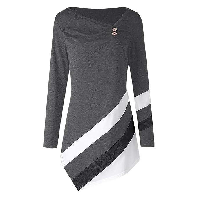 Yvelands Mujer Otoño Invierno Rayas Túnica Asymmtrical Tops Tallas Grandes Blusa Camisetas Tops Blusa: Amazon.es: Ropa y accesorios