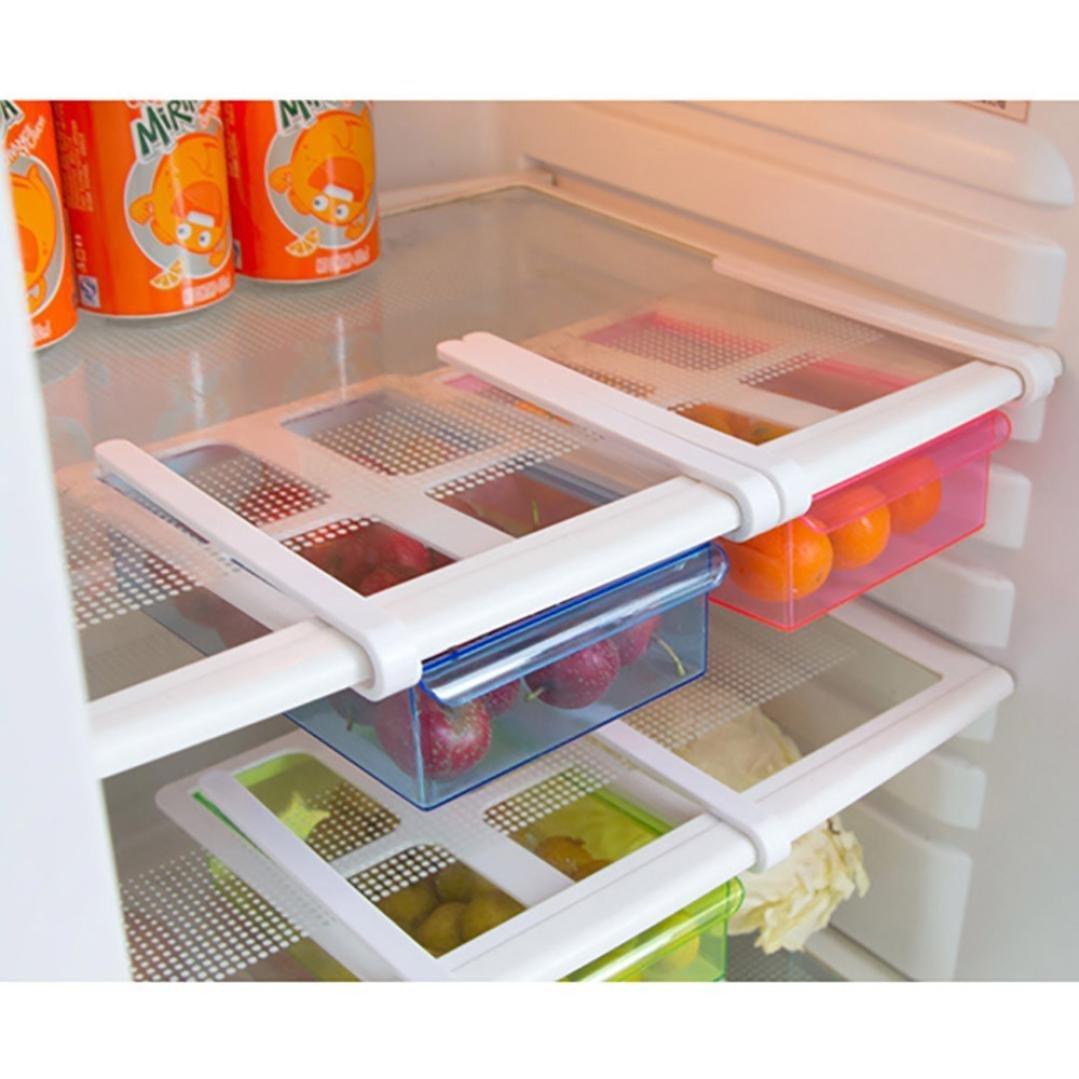Refrigerator Storage Box, Refrigerator Fridge Storage Container Box Freezer Shelf Holder Rack - Space Saver Cabinet Organizer Drawer for Vegetables Fruits (Blue) HOME STYLE