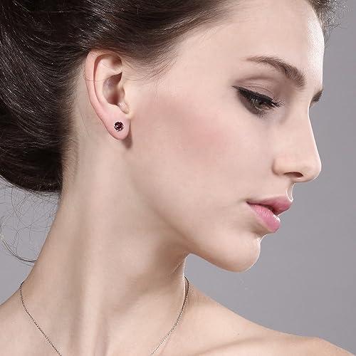 Gem Stone King 1.28 Ct Round Red Rhodolite Garnet 10K Yellow Gold 4-prong Stud Earrings 5MM