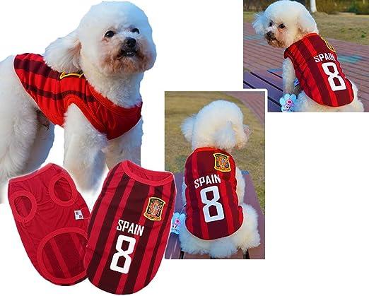 España] Lovely perro mascota ropa de prendas de vestir ropa de fútbol, tamaño L: Amazon.es: Productos para mascotas