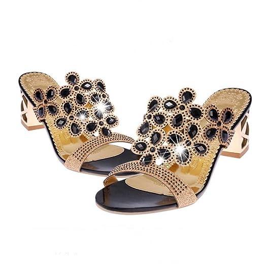de65d10160d Baigoods SWomen Summer Fashion Flip Flops High Heel Sandals Fat Girls  Rhinestone Crystal Wedges Shoes (