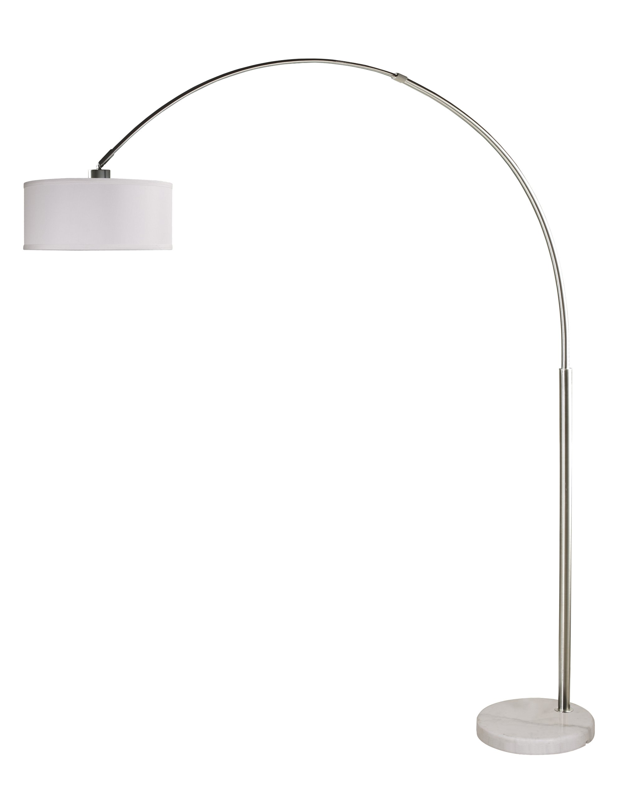 Arch Floor Lamp Stainless Steel Marble Base White Linen Shade Modern Contemporary 6938WH