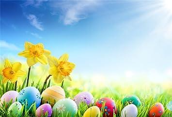Erba Con Fiori Gialli.Yongfoto 3x2m Vinile Fondale Foto Pasqua Uova Su Erba Verde Con