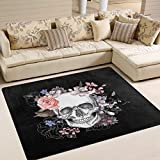 "Day of The Dead Sugar Skull Area Rug Rugs Carpet for Living Room Bedroom 6'7"" x4'9"