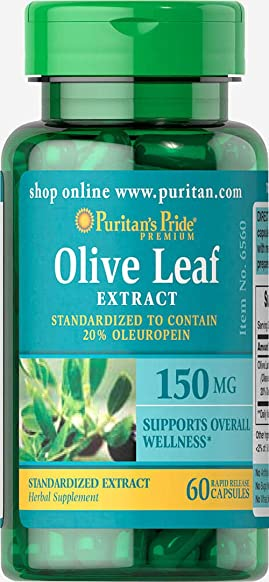 Puritan s Pride Olive Leaf Standardized Extract 150 mg-60 Capsules