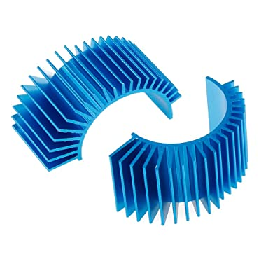 Aluminum Motor Heatsink Cooling Fins RC 540 550 Size Brushed Brushless Electric Engine Accessories Parts, Pack of 2 (Blue): Toys & Games