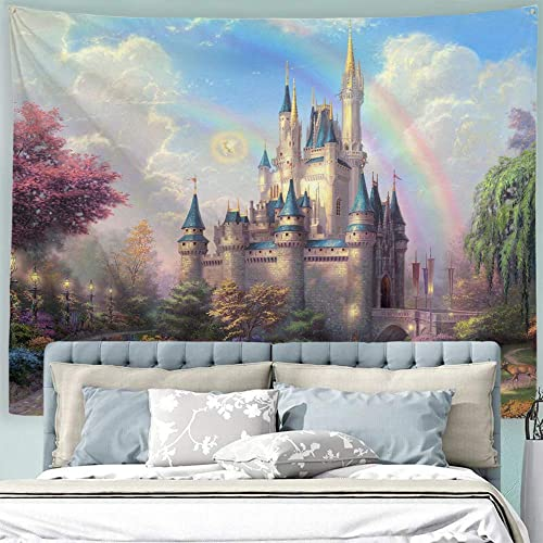 Baccessor Fantasy Castle Tapestry Colorful Rainbow Forest Princess Lake White Swan Fairy Tale World Wall Hanging Tapestry for Girls Bedroom, 90 W x 71 L 230cmx180cm – Castle