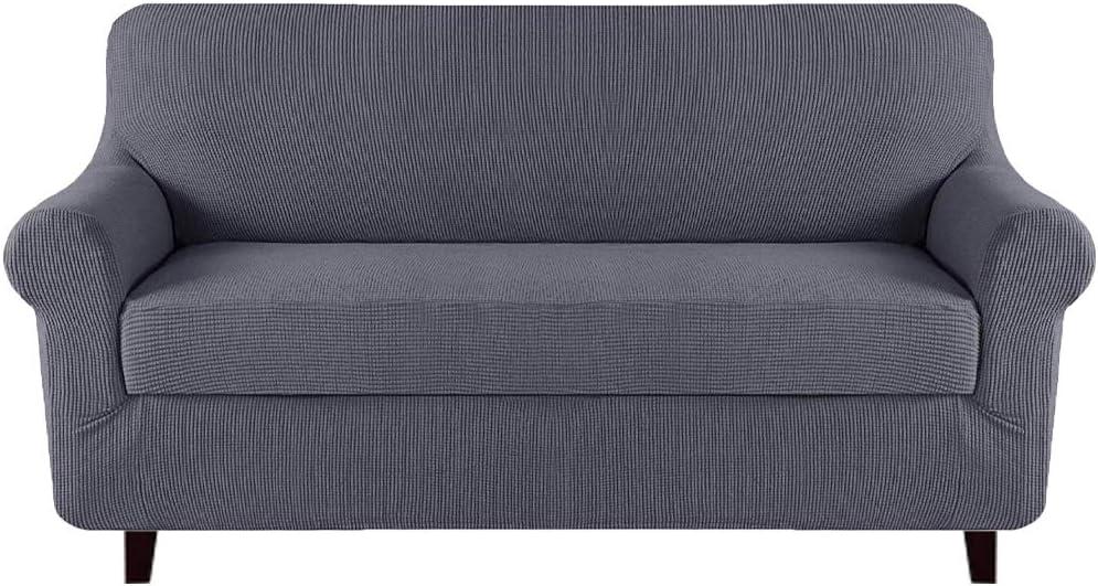High Stretch Jacquard 2 Pieces Sofa Cover Couch Cover Furniture Sofa Slip Covers for Living Room, Polyester Spandex Jacquard Fabric Small Checks (Sofa, Gray)
