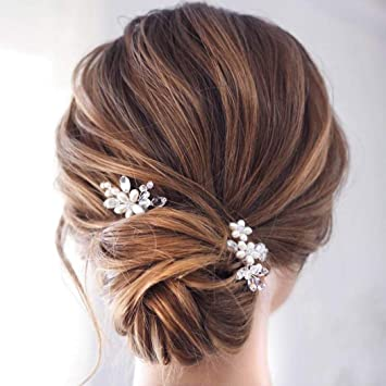 Catery Flower Wedding Hair Pins Crystal Pearl Hair Set Jewelry Bride Decorative Hair Accessories For Women Pack Of 2