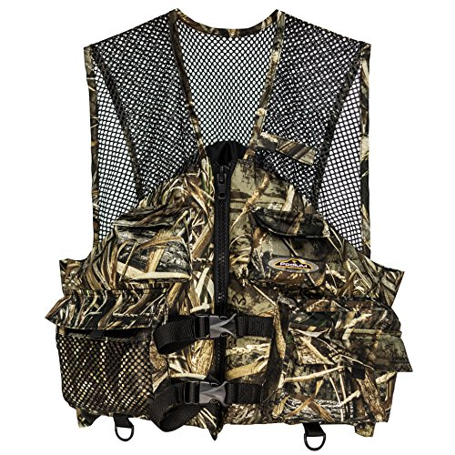 Caddis Tent - North Star Sports DFC100L Podium Adult 6 pocket Max 5 Fishing Vest, Camo/Black, Large