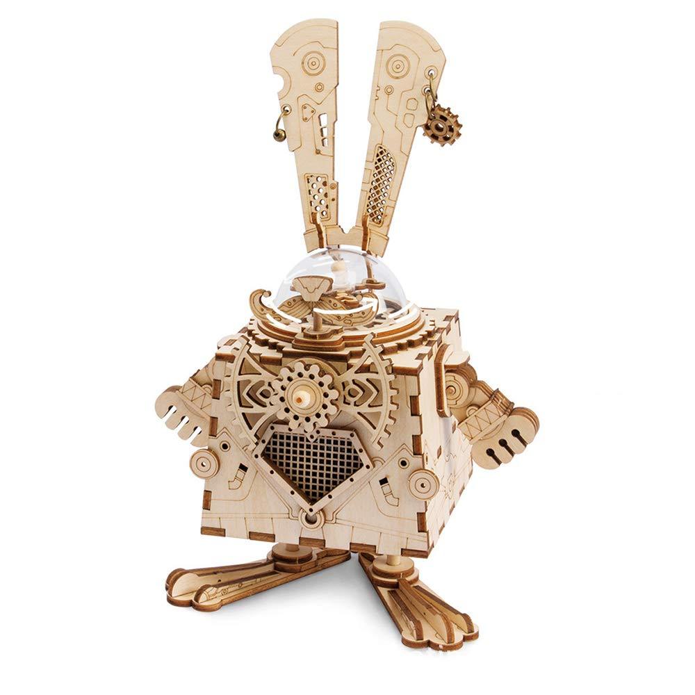 正規店仕入れの ギア手動オルゴール付きYdq 3D木製パズル - 子供や大人のための機械モデルキットのおもちゃ - - - 3D木製パズル 誕生日/子供の日のための最高の贈り物、ウサギ B07Q8KM74V, スサミ町:2f78e603 --- svecha37.ru