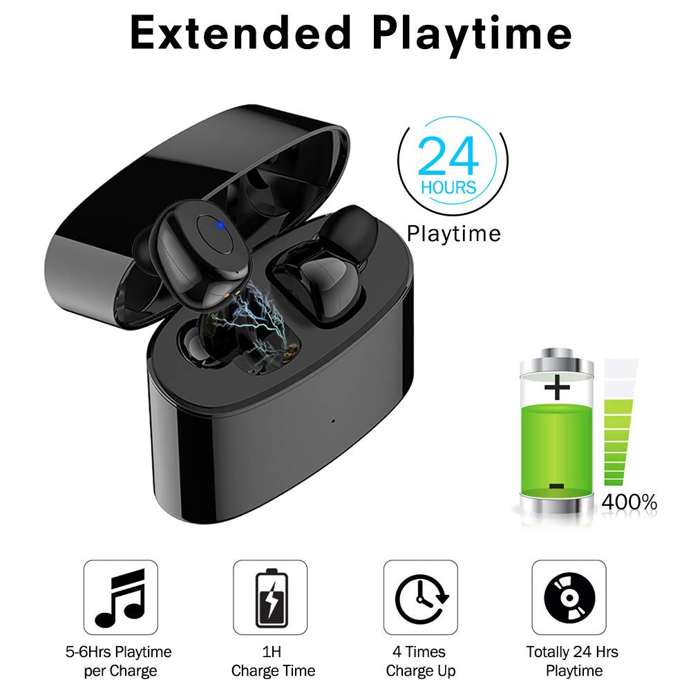 in Ear Wireless Earbuds for Apple iPhone Samsung Andriod Phone, JoyGeek BT5.0 True Bluetooth Earphones Mini Cordless Buds Sports Running Bose Headphones with Mic 3D Stereo Sound 24H Playtime