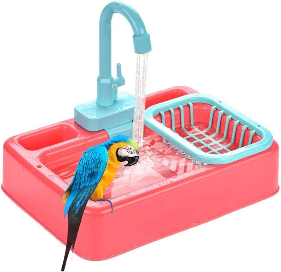 perfecti Bañeras para Pájaros Juguete para Aves con Grifo Parrot Bañera De Ducha Automática Comedero De Baño De Tina De Baño, Color Aleatorio