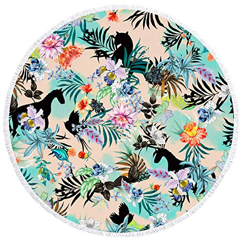 YAXIUFEN 29 Options Thick Soft Super Water Absorbent Multi-Purpose 60 inch 3D Printing Large Round Beach Towel Circle Picnic Carpet Yoga Mat Blanket with Tassels (Flower Horse Leopard) (Leopard Mat Yoga)