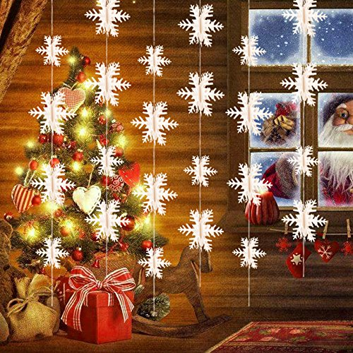 Snowflake Hanging Garland Christmas Decoration (24 Snowflakes 18FT), Konsait White Paper 3D Snowflakes String Ornaments Garland for Xmas Home Holiday New Years EVE Party Decoration Supplies Home Made Christmas Tree