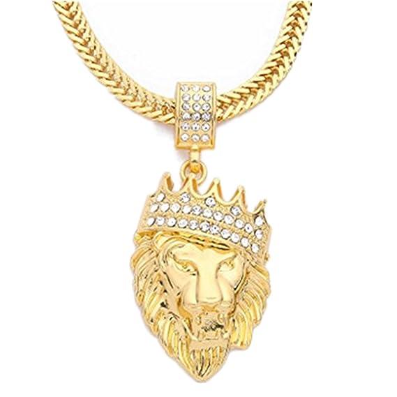 b72332f8a7a3 LILICAT® Colgante Animal para Hombre, Collar de Hip Hop de cadena cubana de  moda, Regalo de Collar lleno de diamantes de imitación