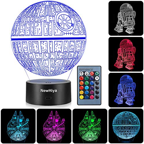 3D Illusion Star Wars Night Light, Three Pattern and 7 Color Change Decor Lamp - Gifts for Kids and Star Wars Fans