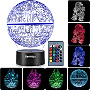 3D Illusion Star Wars Night Light, Three Pattern and 7 Color Change Decor Lamp - Gifts for Kids and Star Wars
