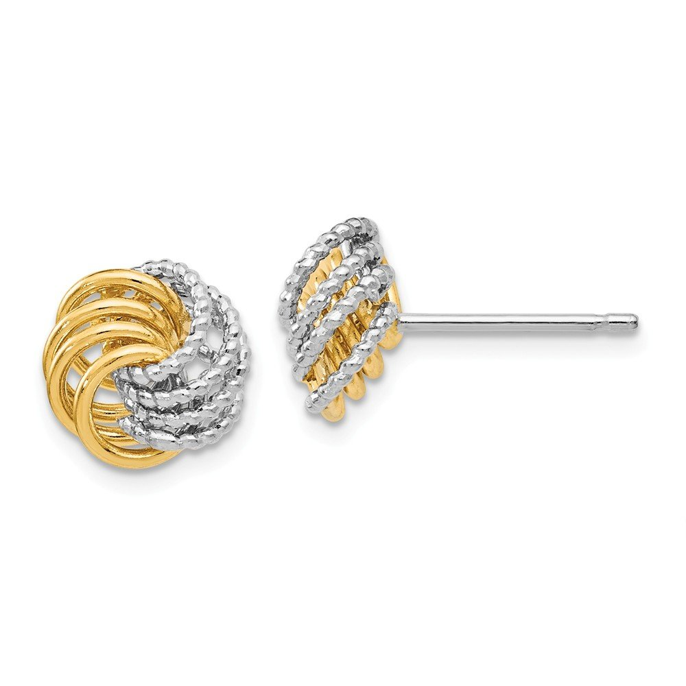 Best Birthday Gift Leslies 14k Two-tone Polished and Textured Love Knot Post Earrings