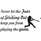 Wall Decal Quote Never Let the Fear of Striking Out Keep You from Playing the Game