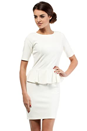 fe69b0f9a0e Image Unavailable. Image not available for. Color  Clea Essential Pencil  Peplum Dress Short Sleeve ...