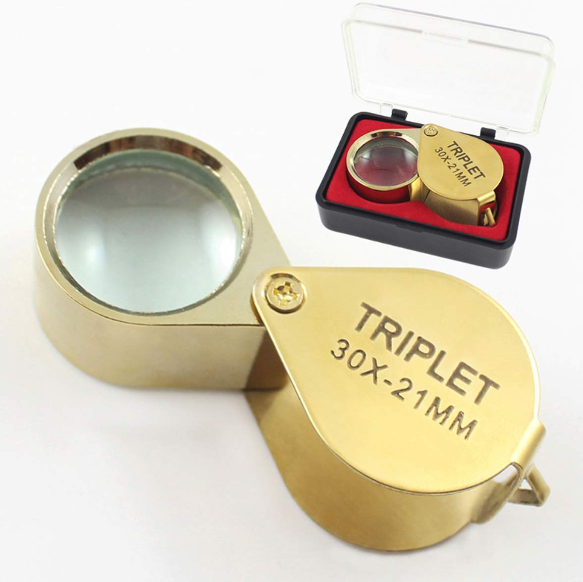EveryWell 30X 21mm Triplet Full Metal Folding Pocket Magnifying Glass Professional Jewelers Loupe with Hard Case Gold
