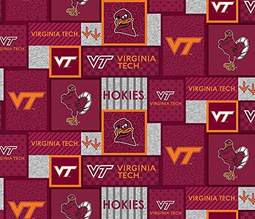 Virginia TECH University Fleece Blanket Fabric-Virginia TECH Hokies Fleece Fabric with New Patch PATTTERN-Sold by The Yard