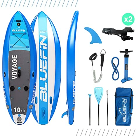 Paddle surf SUP VOYAGE de Bluefin | Tabla de Paddle Surf hinchable 1010 | Estabilizadores Integrados | Plataforma Extra Ancha | 15cm de Espesor | ...