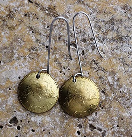 Domed Coin Drop Dangle Earrings Tonga Tortoise 1 Senti 1974 Turtle Animal Stainless Steel Wires - Gold Polished Turtle